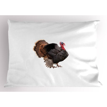 Turkey Pillow Sham Realistic Bird Picture Thanksgiving Day Family Dinner Theme Farm Animal Photo, Decorative Standard Size Printed Pillowcase, 26 X 20 Inches, Black Brown Coral, by Ambesonne](Potluck Dinner Themes)