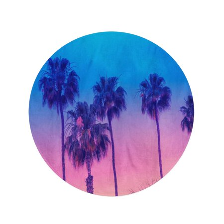 POGLIP 60 inch Round Beach Towel Blanket Row of Tropic Palm Trees Against Sunset Sky Gradient Travel Circle Circular Towels Mat Tapestry Beach Throw - image 1 of 2