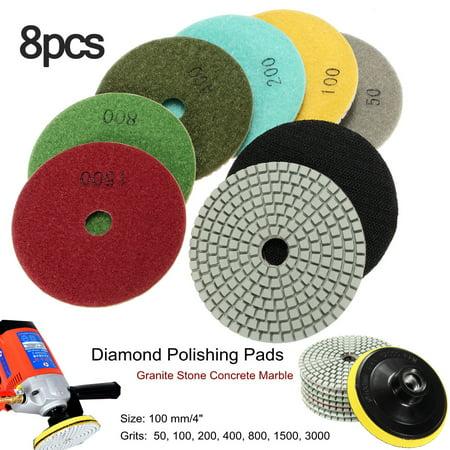 Diamond Floor Polishing Pad - 4 inch Polishing Pad Set Wet/Dry Diamond Polishing Pads Set of 7+1 Backer Pad For Granite Stone Concrete Marble