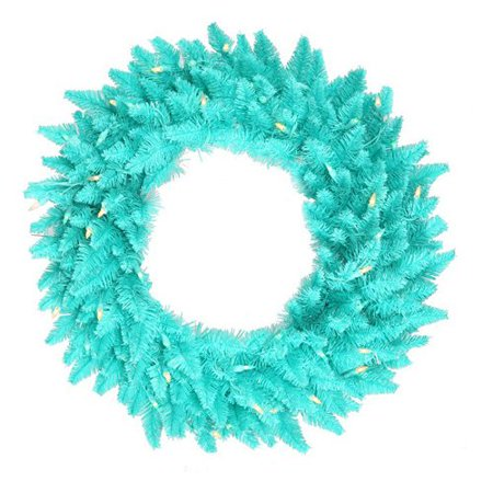Vickerman Aqua Fir Pre-Lit Wreath - Aqua Lights