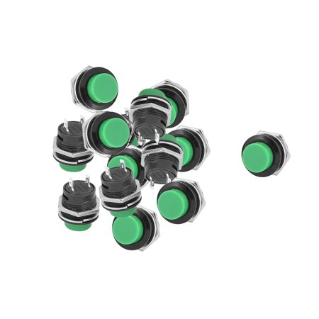15 Pcs AC250V/3A 125V/6A 16mm Dia SPST Momentary Green Round Push Button Switch - image 2 of 2