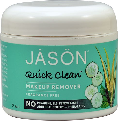 6 Pack - Jason Quick Clean Makeup Remover Pads 75 ea All Good Products, Lip Balm, SPF 15, Original, Spearmint, Coconut, 3 Pack, 4.25 g Each