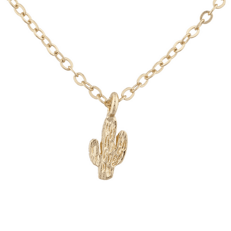 Lux Accessories Gold Tone Delicate Cactus Desert Novelty Charm Pendant - Novelty Necklaces