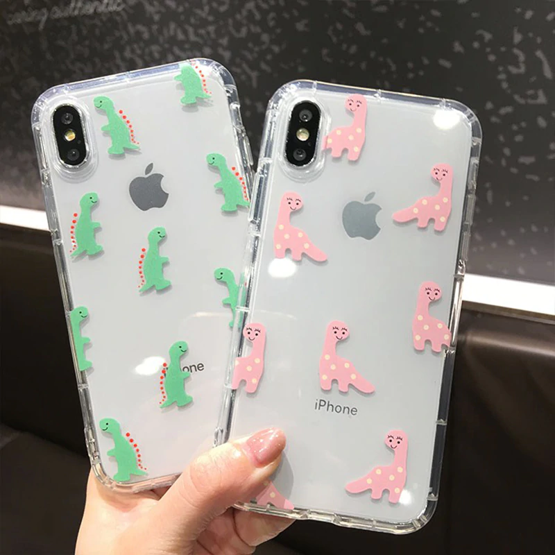 "For iPhone 8 Plus 5.5"" Clear TPU Cute Dinosaur Dino Cartoon Protective Shockproof Case (Pink)"
