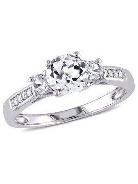 1-1/3cttw Created White Sapphire and Diamond-Accent Three-Stone Engagement Ring in 10K White Gold