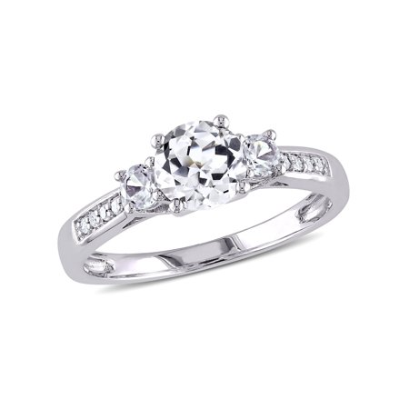 1-1/3 Carat T.G.W. Created White Sapphire and Diamond-Accent 10kt White Gold Three Stone Engagement Ring