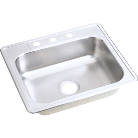 Elkay D125221 Dayton Stainless Steel Single Bowl Top Mount Sink with Single Faucet Hole, Satin