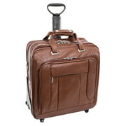 McKlein USA The West Town Fly Through Checkpoint-Friendly Leather Detachable Wheeled Laptop Case - Brown