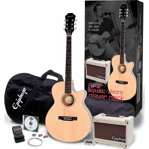"Epiphone by Gibson PR-4E Player 43"" Cutaway Acoustic/Electric Guitar Package, Mahogany with Natural Finish"