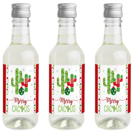 Merry Cactus - Mini Wine and Champagne Bottle Label Stickers - Christmas Cactus Party Favor Gift - Set of 16 - Wine Party Favors