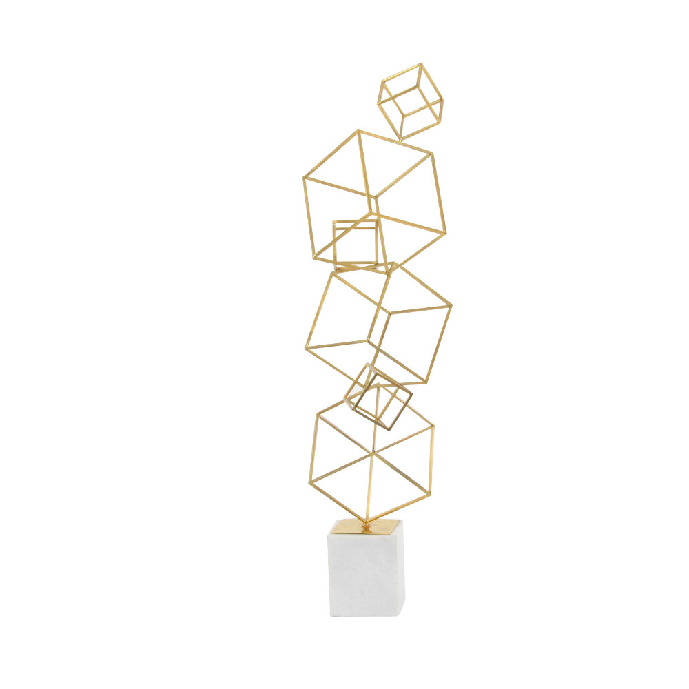 Attractive Metal Marble Cube Sculpture, Gold Finish by Benzara