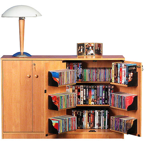 Oak TV Stand with Double Locking Cabinet, for TVs up to 42""