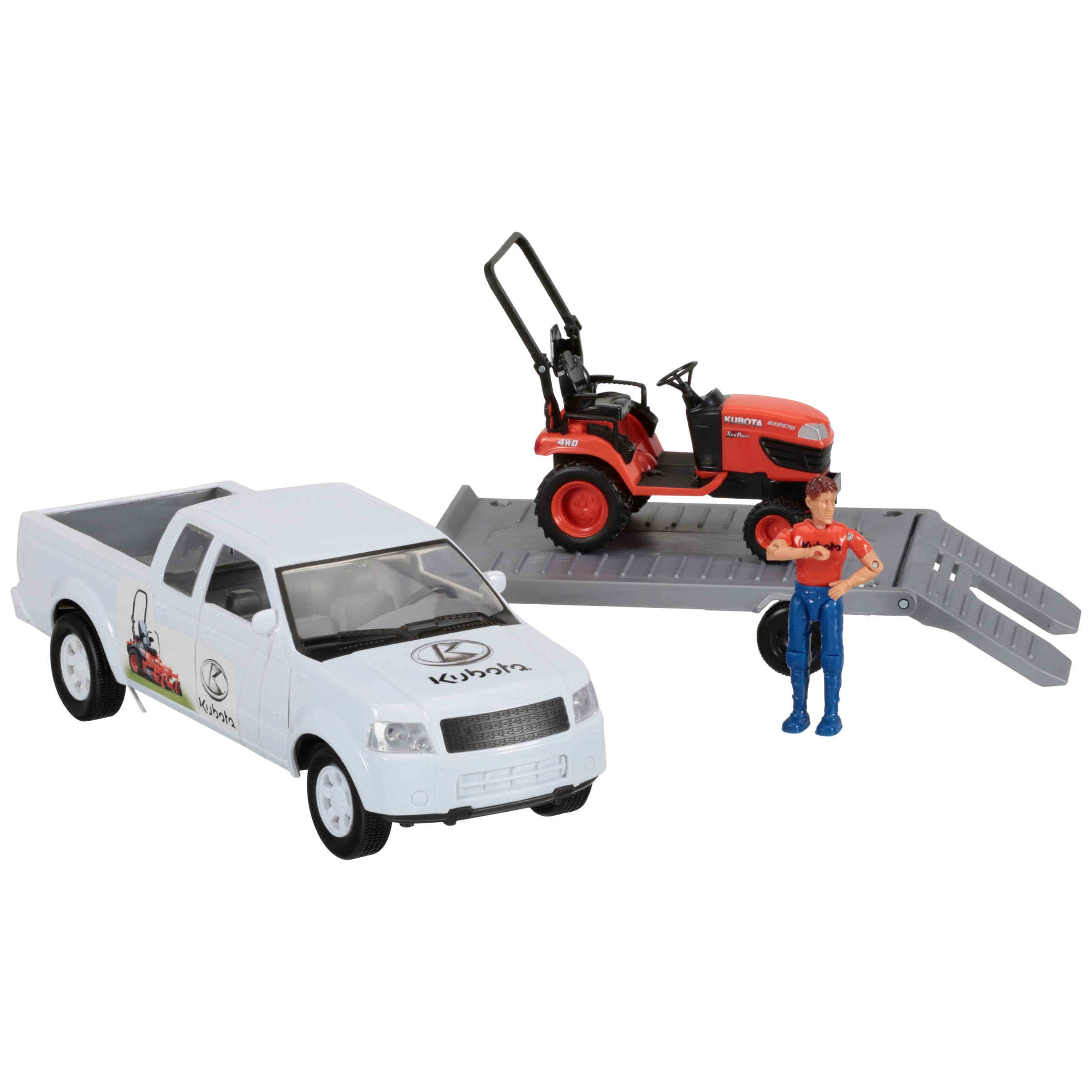 Kubota Pickup Truck with Trailer & Lawn Tractor Toy Set 4 pc Box by Kubota Tractor Corporation