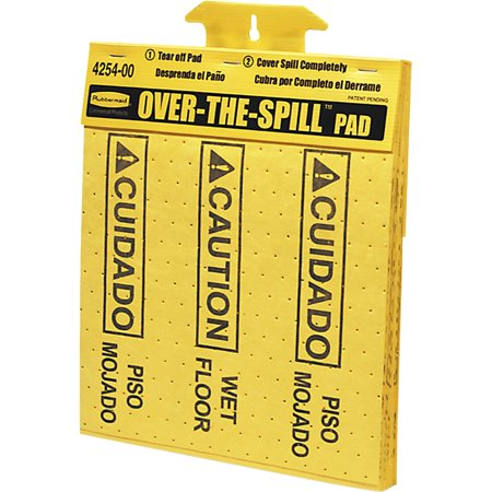 Rubbermaid Commercial, RCP4254, Bilingual Over-The-Spill Pads, 22 / Pack, Yellow Barrier Spill Matting