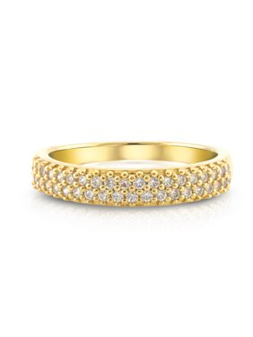 Sterling Silver 14 Karat Gold-Plated Cubic Zirconia 2 Row Band Ring