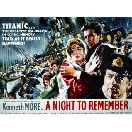 A Night To Remember Large Figures At Right From Left Jill Dixon Ronald Allen Kenneth More 1958 Antr1958-Fsct001(Antr1958-Fsct001) Movie Poster Masterprint (Left To Right Halloween Story)