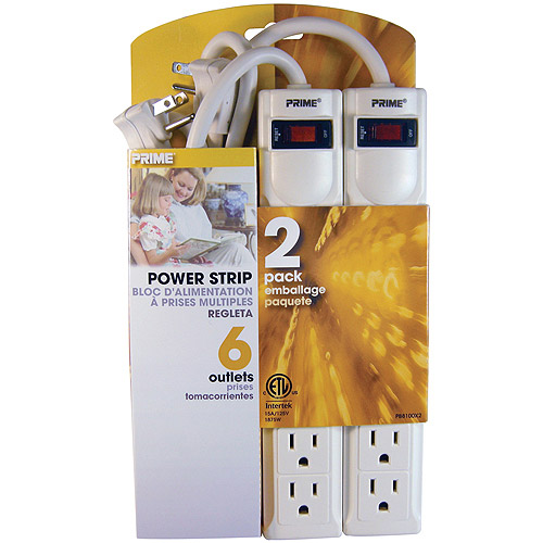 Prime 6-Outlet Power Strip with 3' Cord, 2 Pack