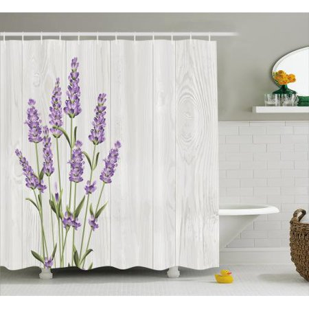 Lavender Shower Curtain Aromatic Herbs Bouquet On Rustic Wood Planks Fresh Country Fabric Bathroom