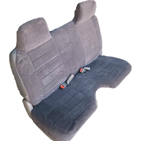 RealSeatCovers 3 Layer Seat Cover for Chevy S10 GMC Sonoma S15 10mm Thick Front Bench A27 Molded Headrest Large Notched Cushion (Charcoal Carpet Dash Cover)