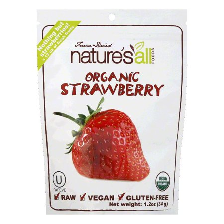 Natures All Foods Freeze & Dried Organic Strawberry, 1.5 Oz (Pack of 12)
