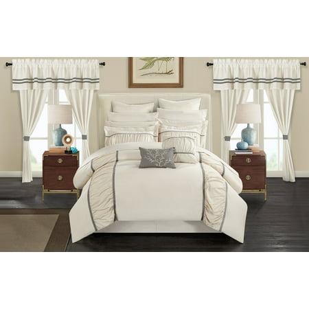 Designer Bed Set - Chic Home 24-Piece Auburn Complete bedroom in a bag Pinch Pleat Ruffled Designer Embellished King Bed In a Bag Comforter Set Beige With sheet set