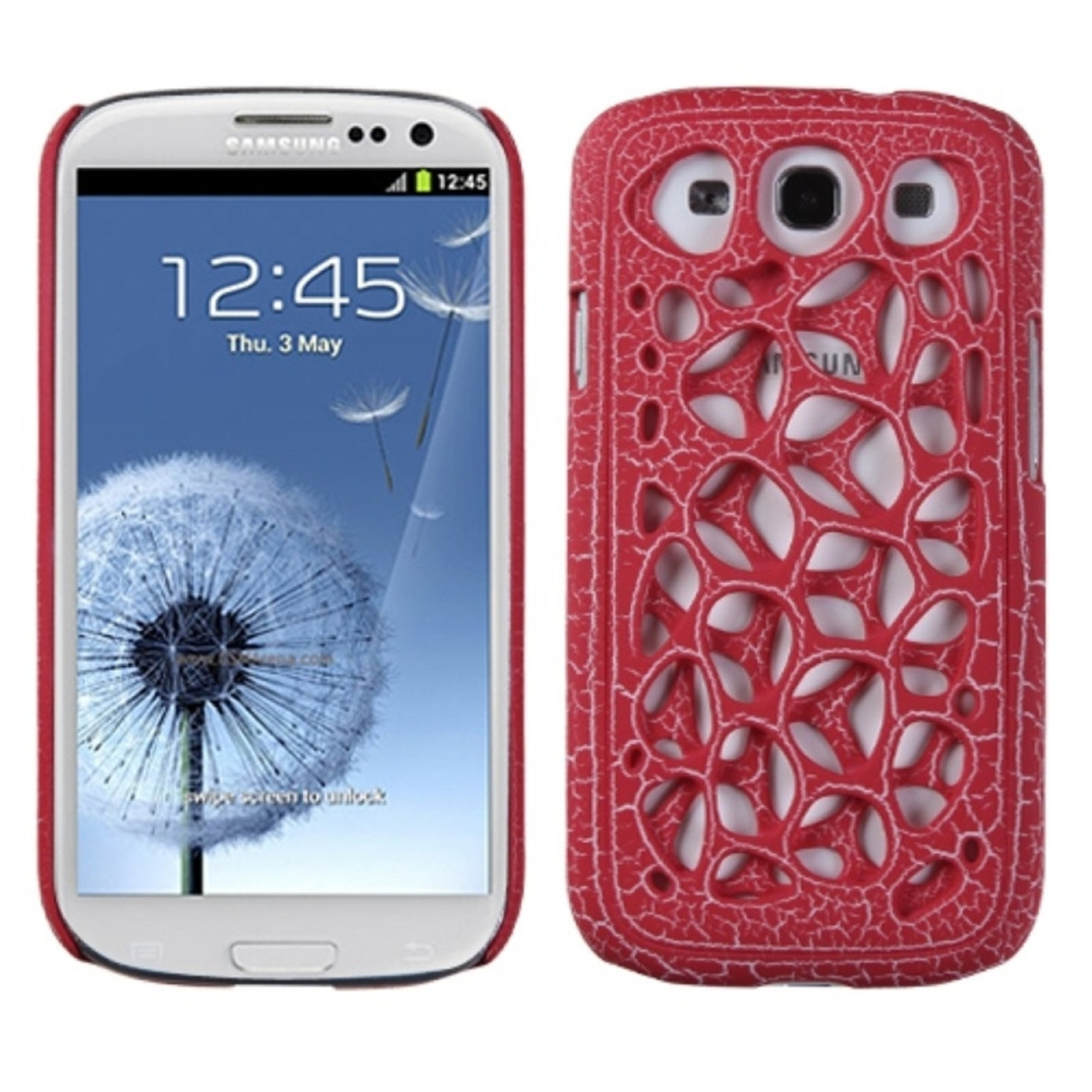 Insten Red Ridged Synapse Case Cover for SAMSUNG: Galaxy S III (i747/L710/T999/i535/R530/i9300)