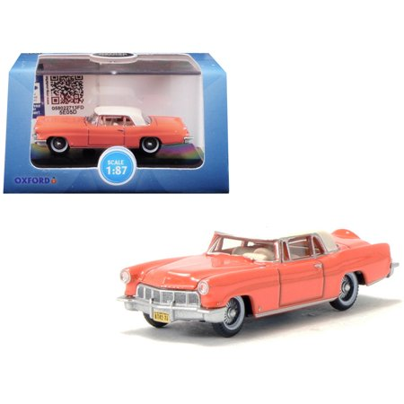 1956 Lincoln Continental Mark II Island Coral with Starmist White Top 1/87 (HO) Scale Diecast Model Car Oxford Diecast