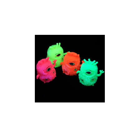 FLASHING TRI EYE MONSTER PUFFERS - 6 PIECES