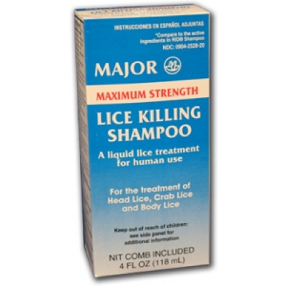 MAJOR LICE KILLING M/S SHAMPOO PIPERONYL BUTOXIDE TECHNICAL-4% Yellow 118 ML UPC 309042528207