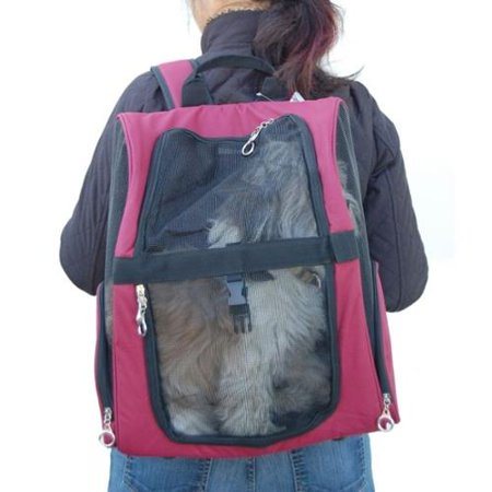 Burgandy Backpack Carrier For Pet Dog Cat Puppy One Size