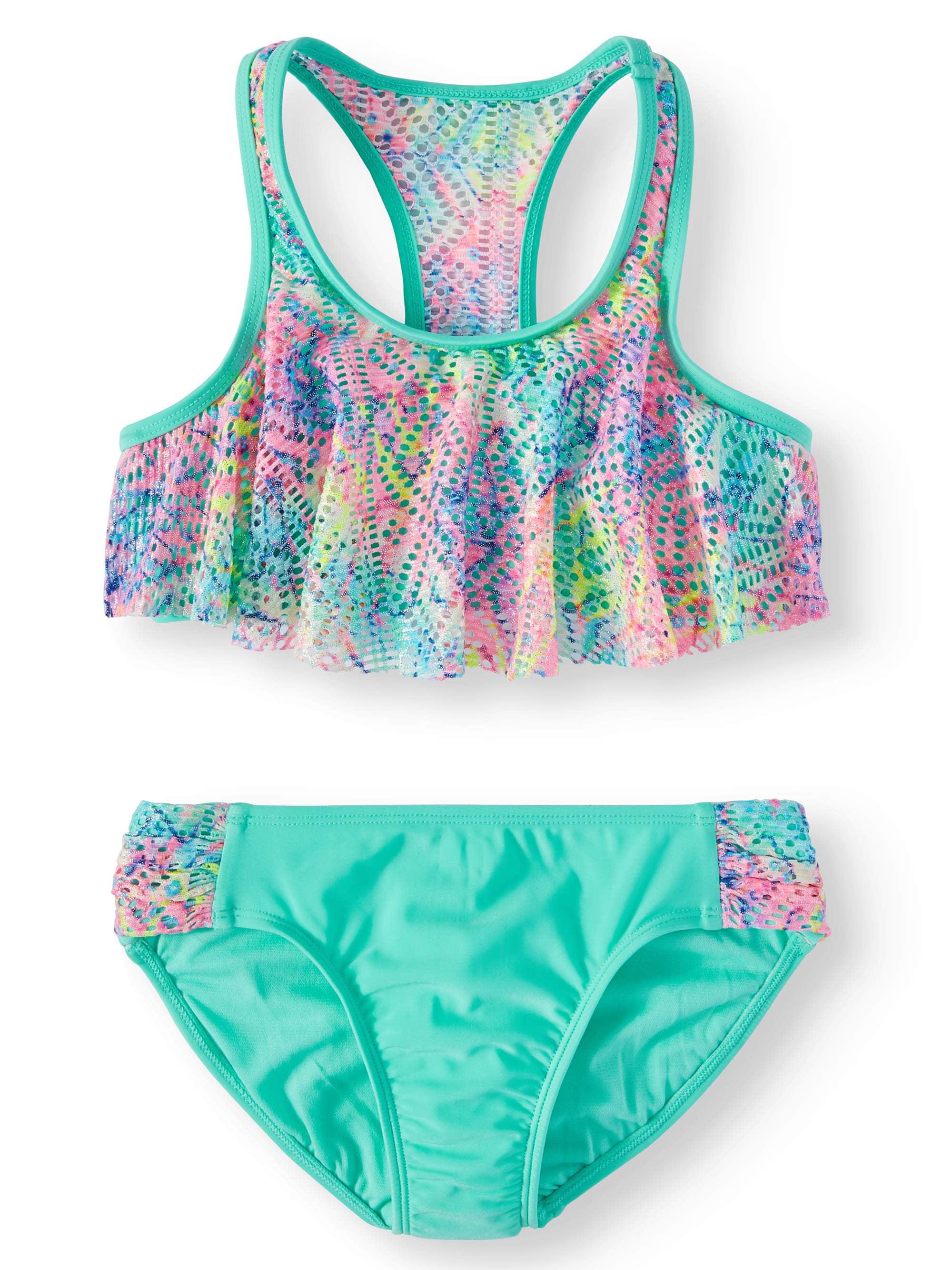 173e3e229e644b Tie Dye Flounce Bikini Swimsuit (Little Girls & Big Girls) - Walmart.com