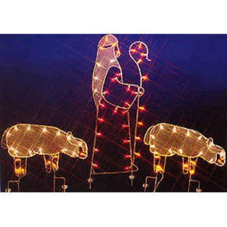 "68"" Nativity Shepherd and Sheep Silhouette Lighted Wire Frame Christmas Outdoor Decoration"
