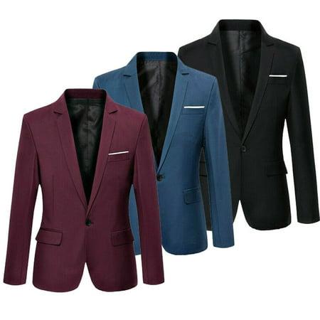 NEW Fashion Men's Casual Slim Fit Formal One Button Suit Blazer Coat Jacket Tops S-4XL Plus Size ()