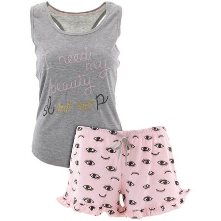 PJ Couture Women's Beauty Sleep Gray Short Pajamas