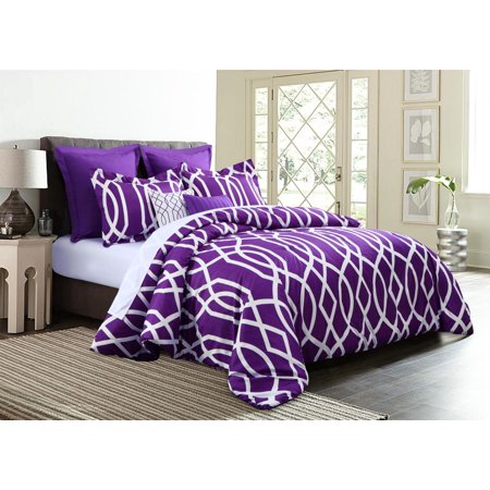 7 Piece Geometric Anbu Comforter Set Purple   Queen Size   Walmart