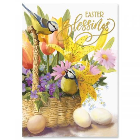 Deluxe Foil Blessings Basket Religious Easter Cards - Set of 8, White Envelope Included, Sentiment,
