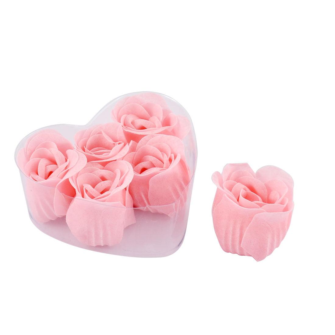 6pcs Decorative Body Relax Clean Rose Petal Soap in Heart Shape Box Pink