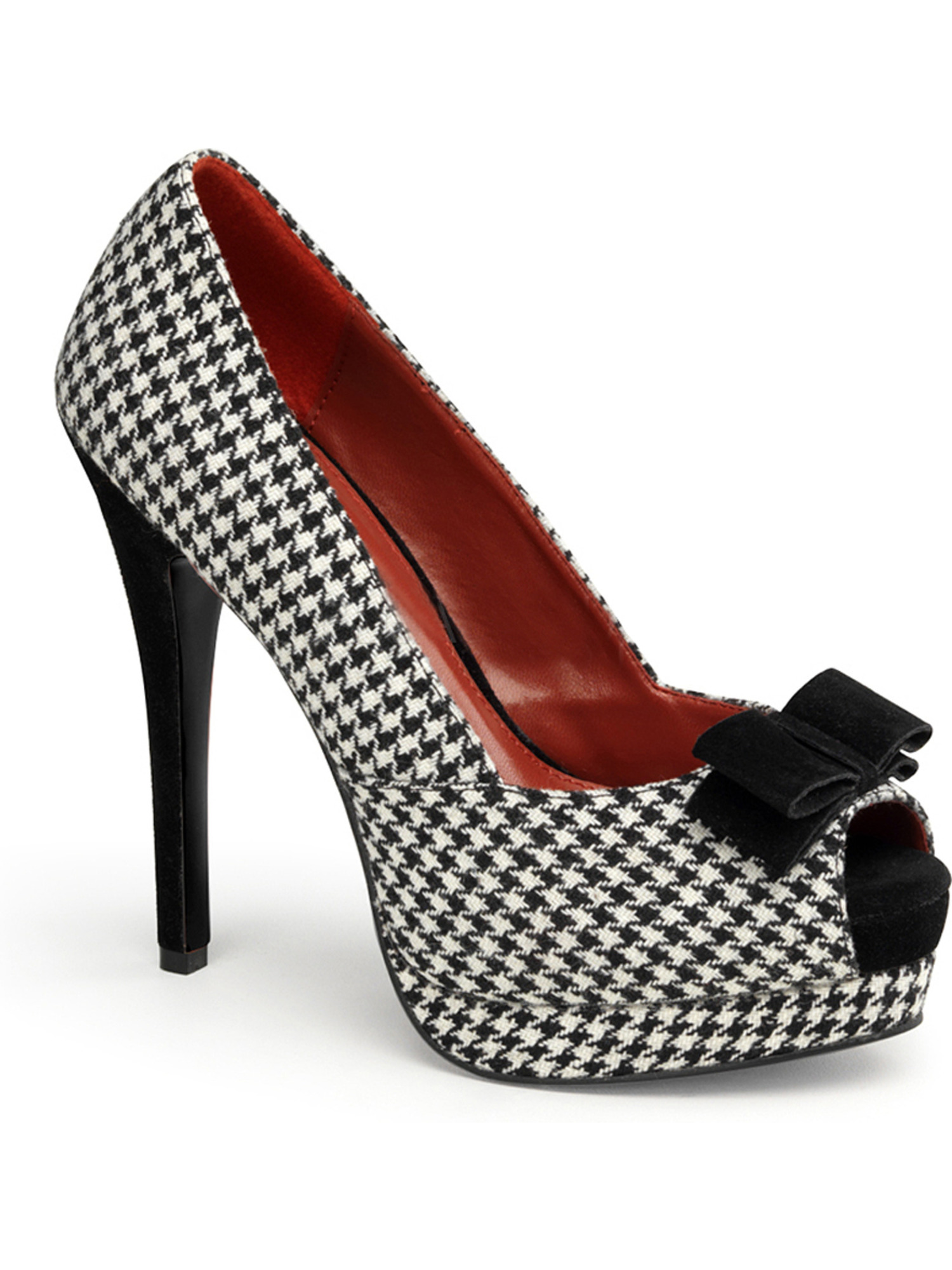 5 1/2 High Heel Pumps Peep Toe White Houndstooth Shoes Fabric Black White Toe 5f9bf9