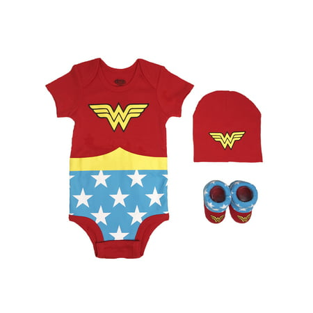 - Wonder Woman Short Sleeve Bodysuit, Booties & Cap, 3-piece Layette Gift Set (Newborn Baby Girls)