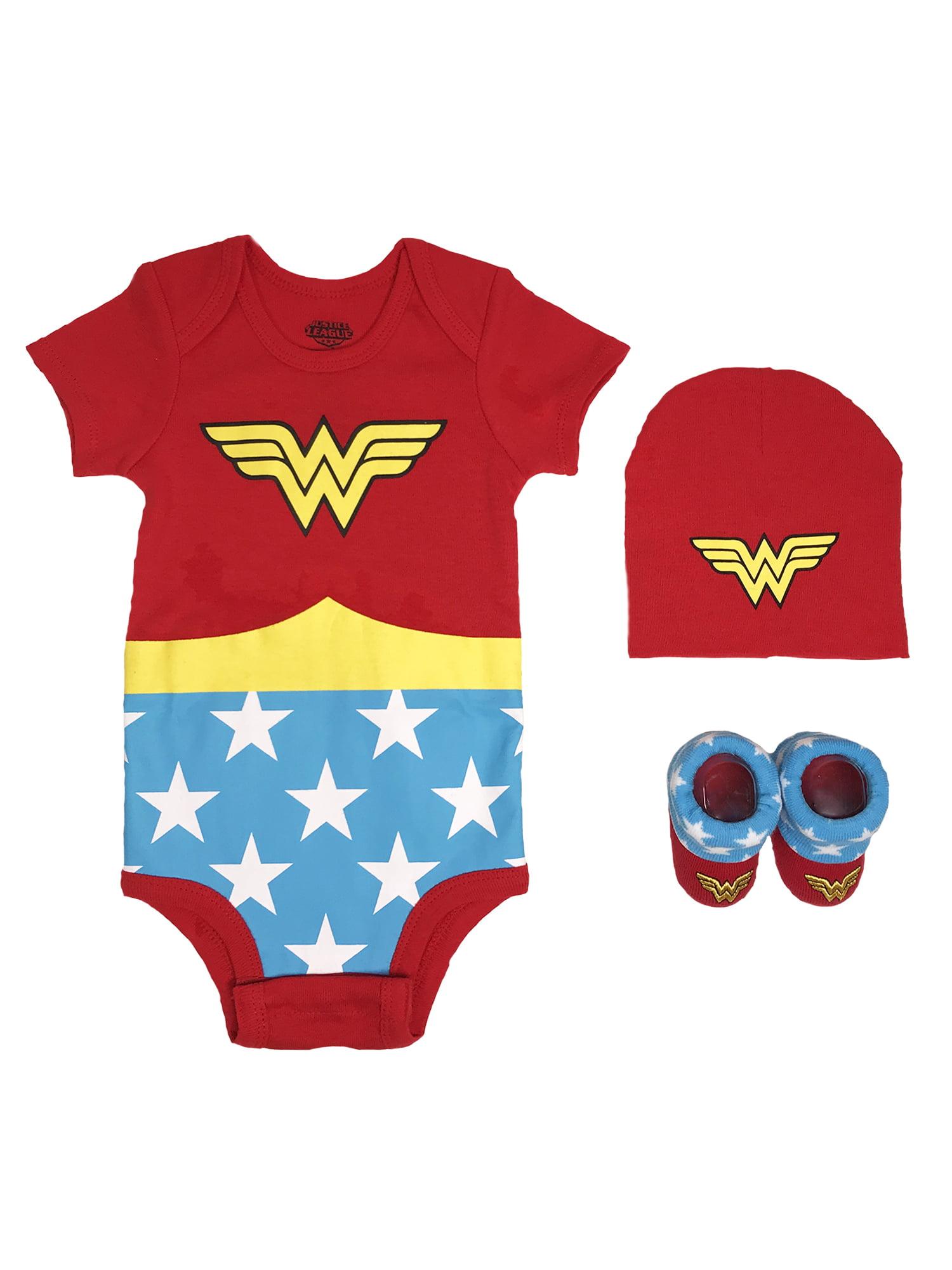 Wonder Woman Short Sleeve Bodysuit, Booties & Cap, 3-piece Layette Gift Set (Newborn Baby Girls)