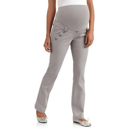 49420fbdfd377 Planet Motherhood - Full-Panel Woven Maternity Pants with Button-Front  Curved Pockets - Walmart.com