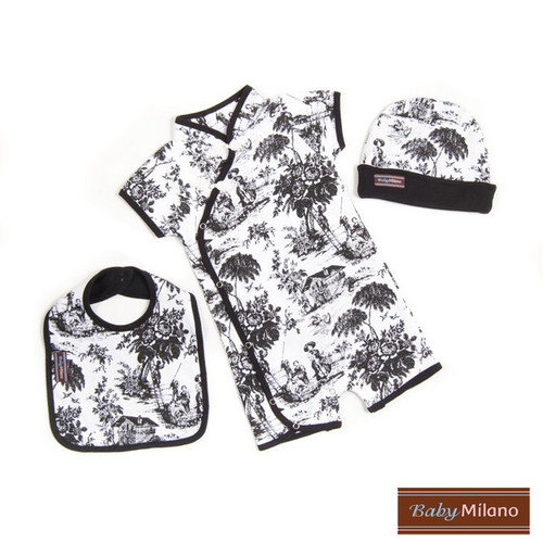 Baby Milano 3 Piece Baby Gift Set in Black Toile