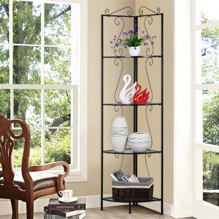 Yaheetech 4 Tier Metal Art Corner Storage Display Shelves Free Standing  Bathroom Corner Shelf Rack Kitchen Shelving Unit,Black