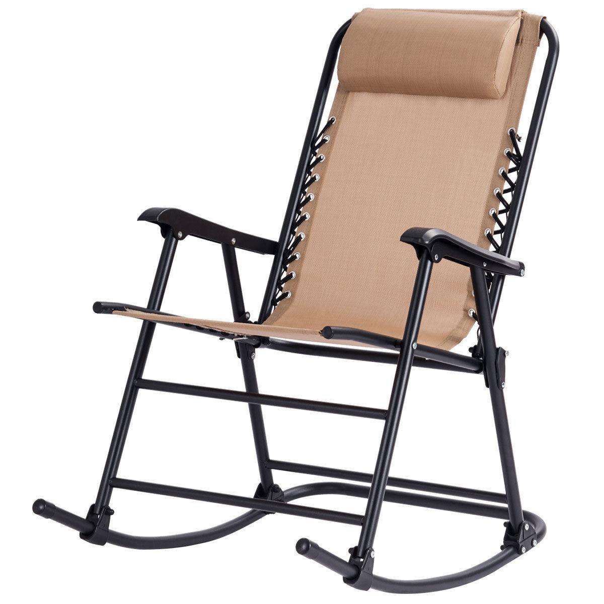 Costway Folding Zero Gravity Rocking Chair Rocker Porch Outdoor Patio Headrest Beige