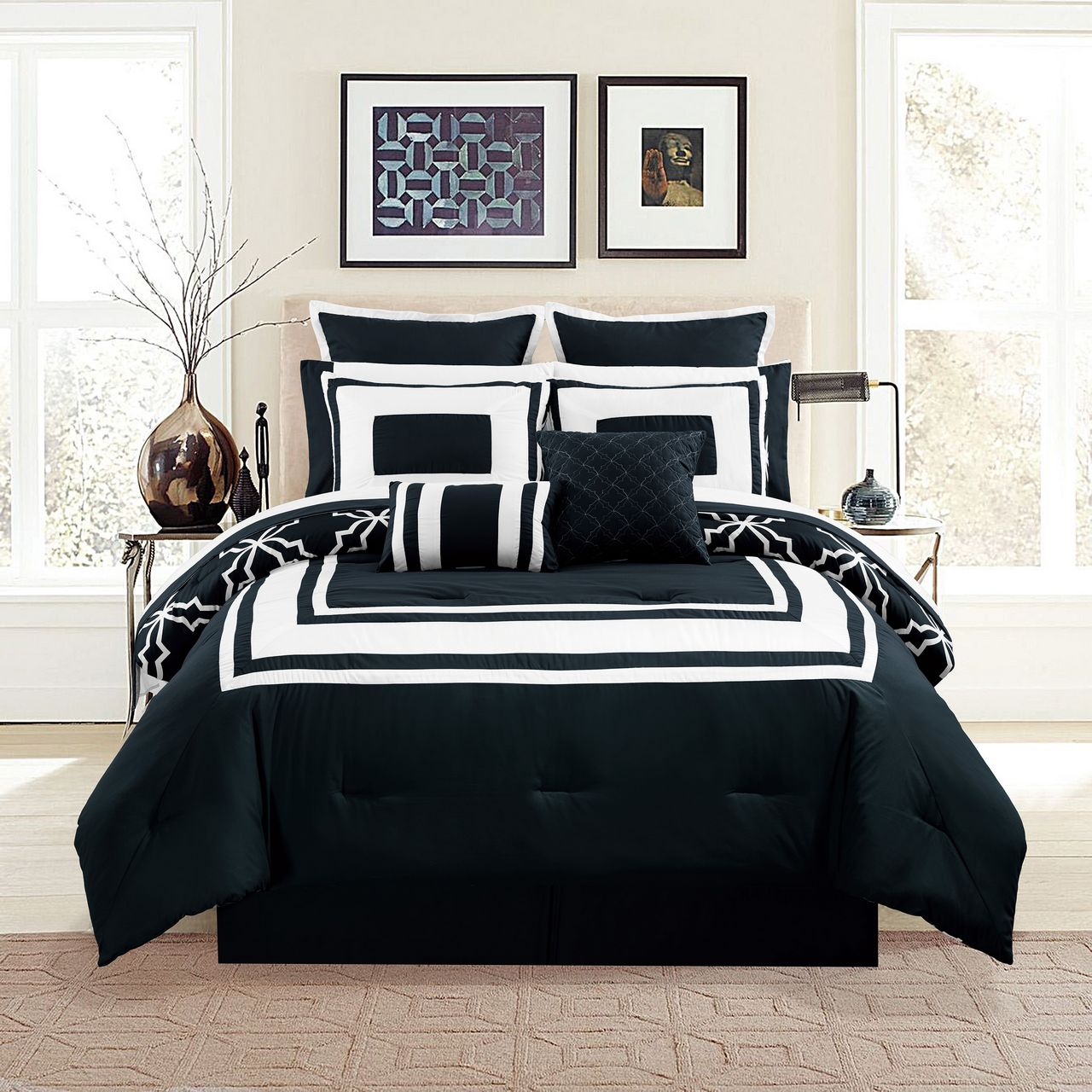 12 Piece Bernard Burgundy Comforter Set with Sheets