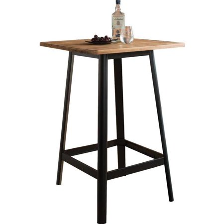 Benzara BM186907 Transitional Square Shaped Wooden Bar Table with Metal Base, Black & Brown - 41 x 28 x 28 in. - image 1 of 1