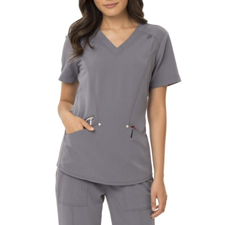 Scrubstar Women's Signature Fashion Collection Modern Fit Stretch Scrub Top (Halloween Nurse Scrubs)