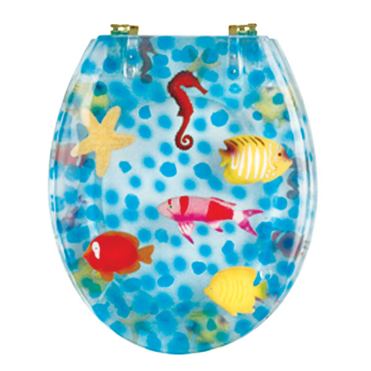 Renovator's Supply Sea Horse Polyresin Standard Round Toilet Seat with PVD Hinge