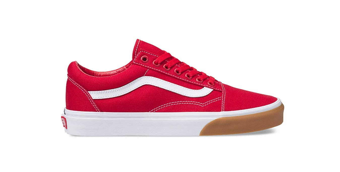 Vans - Vans VN-0A38G1UK1: Mens Gum Bumper Red/True White Old Skool Checker Sneakers (10.5 D(M) US Men) - Walmart.com