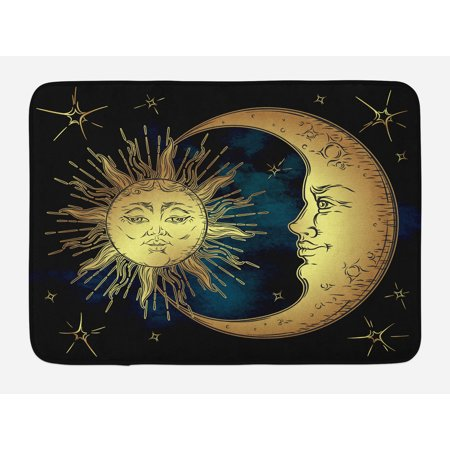 Prince Slip (Psychedelic Bath Mat, Sacred Moon and Sun in Antique Style Lunar Myth Astrology Zen Art Print, Non-Slip Plush Mat Bathroom Kitchen Laundry Room Decor, 29.5 X 17.5 Inches, Petrol Blue)